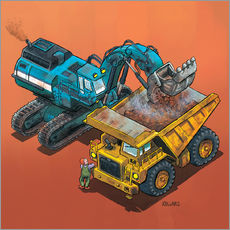 Tableau en plexi-alu  Excavator and trucks - Helmut Kollars