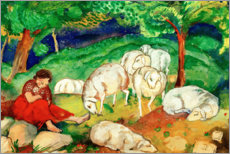 Tableau en plexi-alu  Shepherdess with sheep - Franz Marc