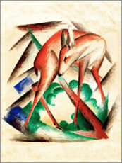 Tableau en aluminium  Deer (Red Deer) - Franz Marc