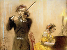 Tableau en plexi-alu  Clara Schumann and Joseph Joachim playing music - Adolph von Menzel
