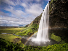 Tableau en plexi-alu  Sejalandsfoss Waterfall with Rainbow - Andreas Wonisch