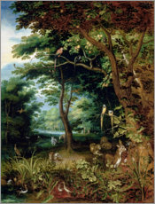 Poster Paradise scene with Adam and Eve