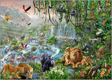Sticker mural  Cascade dans la jungle - Adrian Chesterman