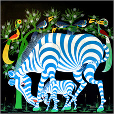 Tableau en plexi-alu  Blue Zebras at night - Rafiki