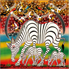 Tableau en plexi-alu  Zebra herd flock of birds - Chiwaya