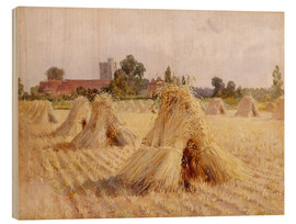 Tableau en bois  Corn Stooks by Bray Church - Hardy Heywood