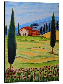Tableau en aluminium  Flowering Poppies of Tuscany 4 - Christine Huwer