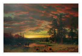 Poster  Evening on the Prairie - Albert Bierstadt