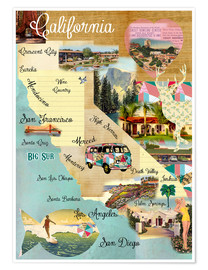 Poster  Collage California (anglais) - GreenNest