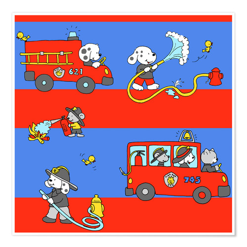 Poster Animaux pompiers