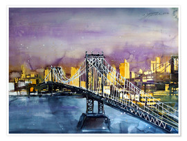 Poster  New York, Manhattan Bridge - Johann Pickl