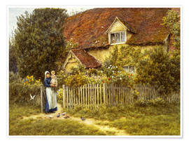 Poster  Mother and child on lodge - Helen Allingham