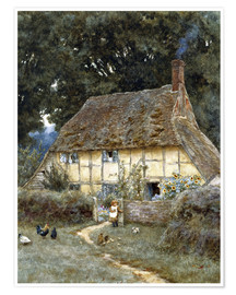 Poster  On the Brook Road, near Witley - Helen Allingham