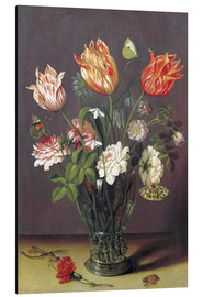 Tableau en aluminium  Tulips with other Flowers in a Glass on a Table - Jan Brueghel d.Ä.
