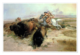 Poster  Chasse au bison, 1897 - Charles Marion Russell