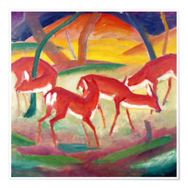 Poster  Biches rouges - Franz Marc
