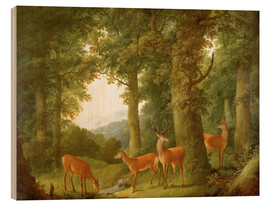 Tableau en bois  Forest Landscape with Deer, 1760/70 - Johann Andreas Herrlein