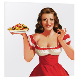 Tableau en PVC  the girl with a pizza - Tanja Doronina