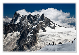 Poster  Mont Blanc Massif and mountaineer, France - Frauke Scholz