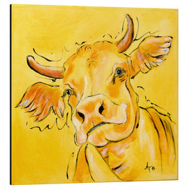 Tableau en aluminium  The yellow cow Lotte - Annett Tropschug
