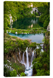 Tableau sur toile  Waterfall Paradise Plitvice Lakes - Andreas Wonisch