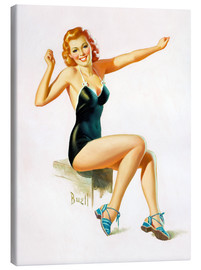 Tableau sur toile  Pin Up - Seated Redhead in Swimsuit - Al Buell