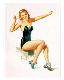 Poster  Pin Up - Seated Redhead in Swimsuit - Al Buell