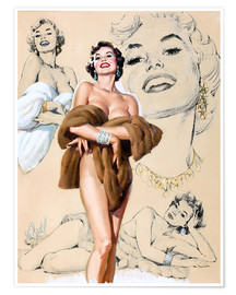 Poster  Étude d'une pin-up glamour - Al Buell