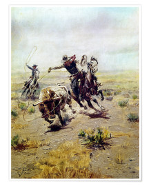 Poster  Cow-boy attrapant un taureau - Charles Marion Russell