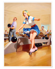 Poster  Pin-up jouant au bowling - Art Frahm