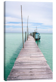 Tableau sur toile  Wooden jetty on tropical exotic island - Alejandro Moreno de Carlos