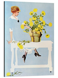 Tableau en aluminium  Housekeeper with bouquet - Clarence Coles Phillips