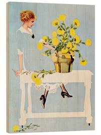 Tableau en bois  Housekeeper with bouquet - Clarence Coles Phillips