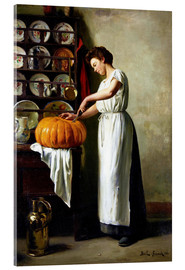 Tableau en verre acrylique  Carving the pumpkin - Franck Antoine Bail