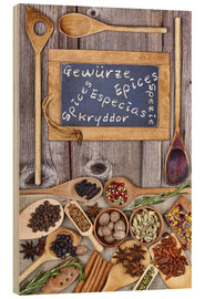 Tableau en bois  Spices in different languages - Thomas Klee