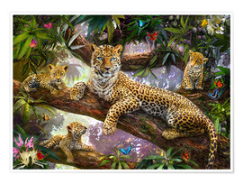Poster  Tree Top Leopard Family - Jan Patrik Krasny