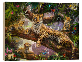 Tableau en bois  Tree Top Leopard Family - Jan Patrik Krasny