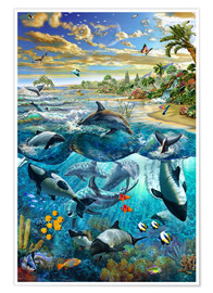 Poster  Dolphin beach - Adrian Chesterman