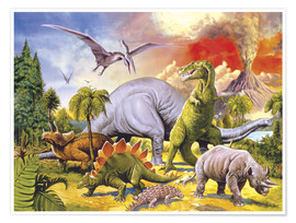 Poster  Pays des dinosaures - Paul Simmons