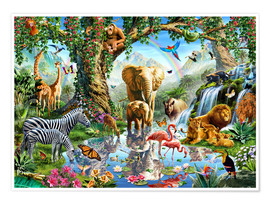 Poster  Lac dans la jungle - Adrian Chesterman