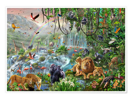 Poster  Cascade dans la jungle - Adrian Chesterman