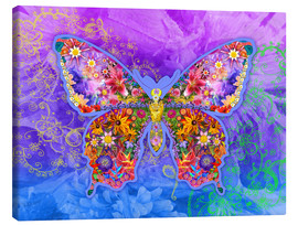 Tableau sur toile  Blue Butterfly Floral - Alixandra Mullins