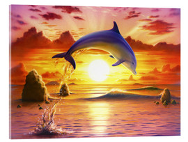 Tableau en verre acrylique  Day of the dolphin - sunset - Robin Koni