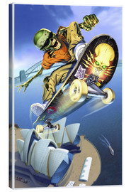 Tableau sur toile  Skateboarding over Opera House - Extreme Zombies