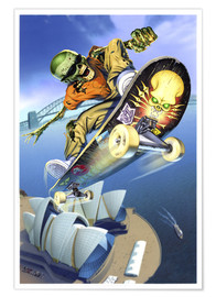 Poster  Skateboarding over Opera House - Extreme Zombies