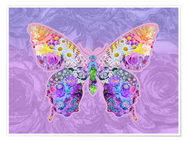 Poster  Purple Floral Buttefly - Alixandra Mullins