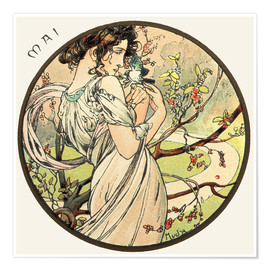 Poster  Les Mois : Mai - Alfons Mucha
