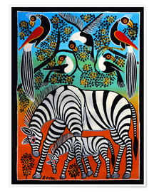 Poster  Zebras under a wild tree - Saidi