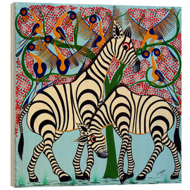 Tableau en bois  Loyalty zebras under the tree - Omary