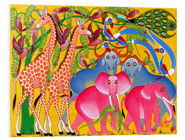 Tableau en PVC  Groups of animals in the bush - Omary
